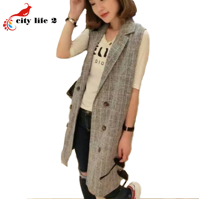 Double Breasted Plaid Vest Spring 2016 New Long Waistcoat Female Leisure Suit Colete Feminino High Quality Vests Of Women