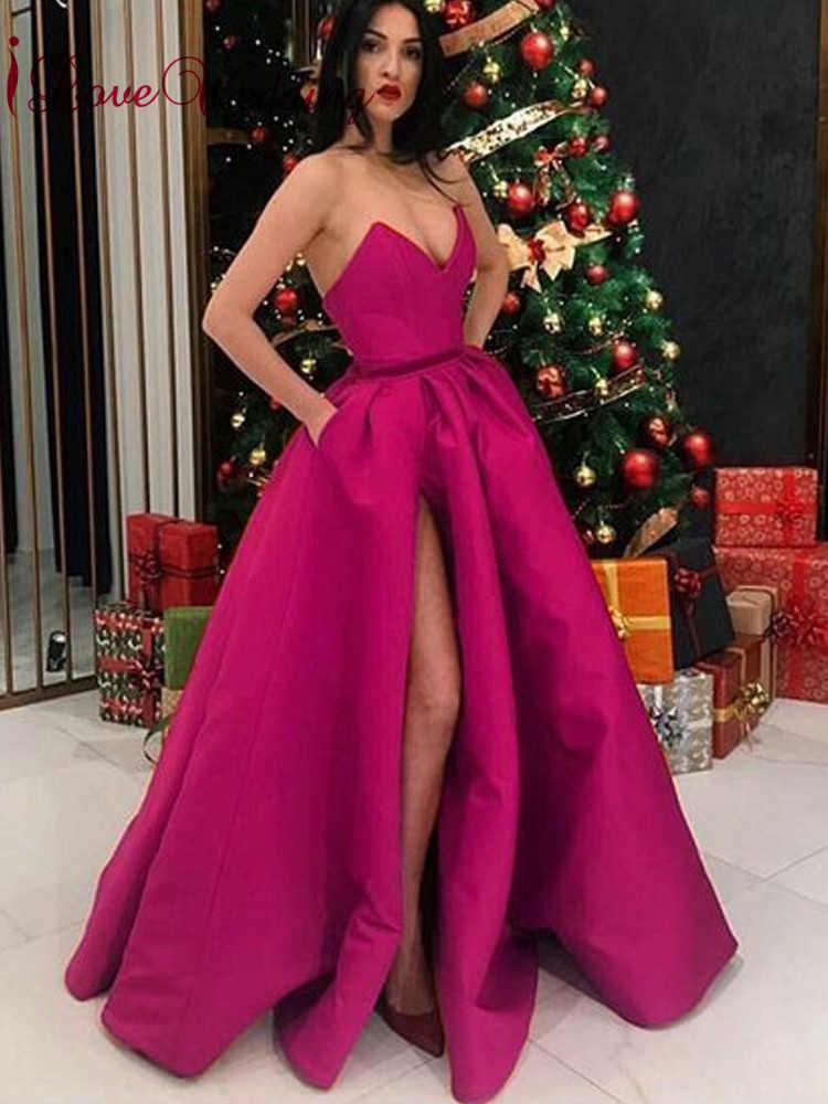 30fbd5ff383 ... iLoveWedding Simple Design 2019 Deep V Neck Red Satin Prom Gown High  Slit Floor Length Formal ...