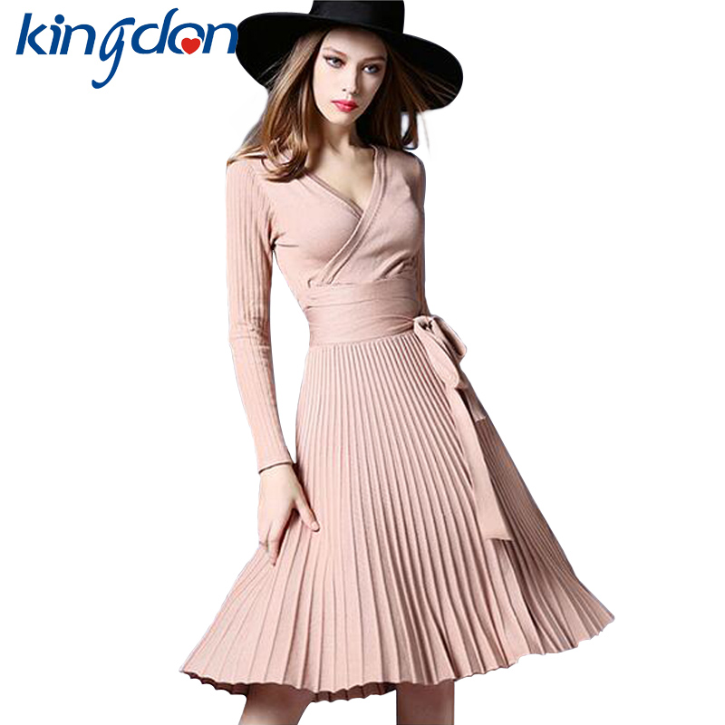 Kingdon 2018 Summer Spring Women Pleated Dress Long Sleeve Fit and Flare Hem Sexy V-Neck High Waist Knitted Dresses With Sashes free shipping 2017 new fashion long spring and summer bell bottom jeans boot cut women slim long trousers lacing up flare pants