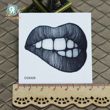 6X6cm Little Sexy Old School Style Sex Temptation Lip Of Women Temporary Tattoo Sticker Body Art Water Transfer Fake Taty