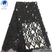 BEAUTIFICAL black velvet lace fabric french lace fabric nigerian lace fabric 2019 with sequin 5yards/lot for lady ML1N704