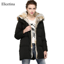 Women's Thickened Down Jacket  Fashion Ladies  Overcoat Women  90% White Duck Down Natural rabbit fur Coat Jackets In Stock