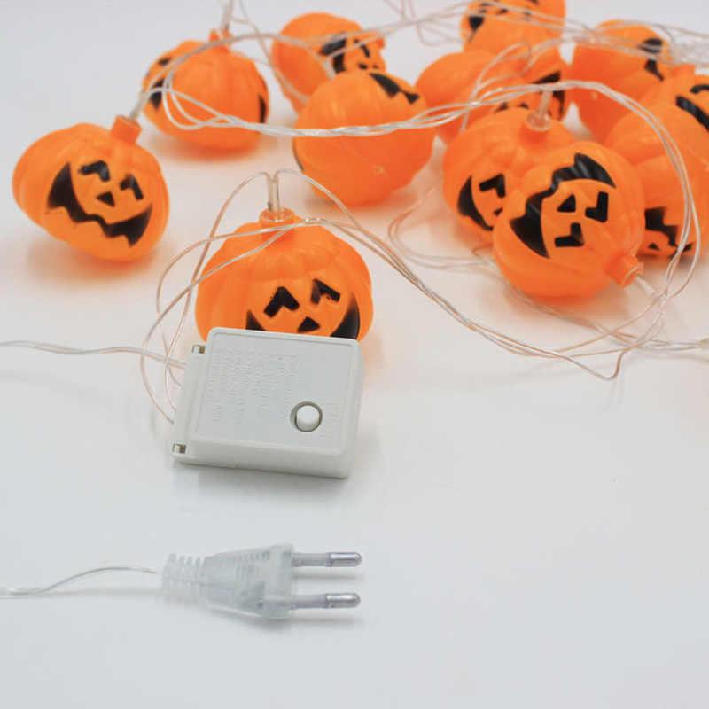 Лампа в виде тыквы на Хэллоуин шнур Скелет Череп светодиодный светящийся карнавальный костюм зомби бар торговый центр сцены украшения реквизит кулон