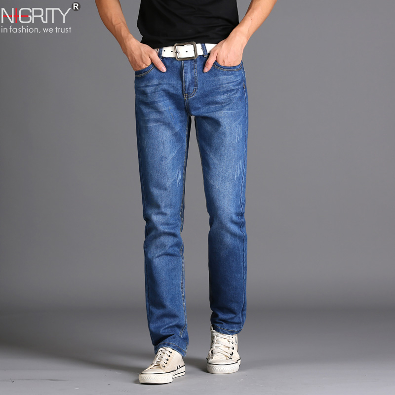 NIGRITY Brand New Men's Fashion   Jeans   Hot   Jeans   For Young Men Sale Men's Pants Casual Slim Cheap Straight Trousers Free Shipping