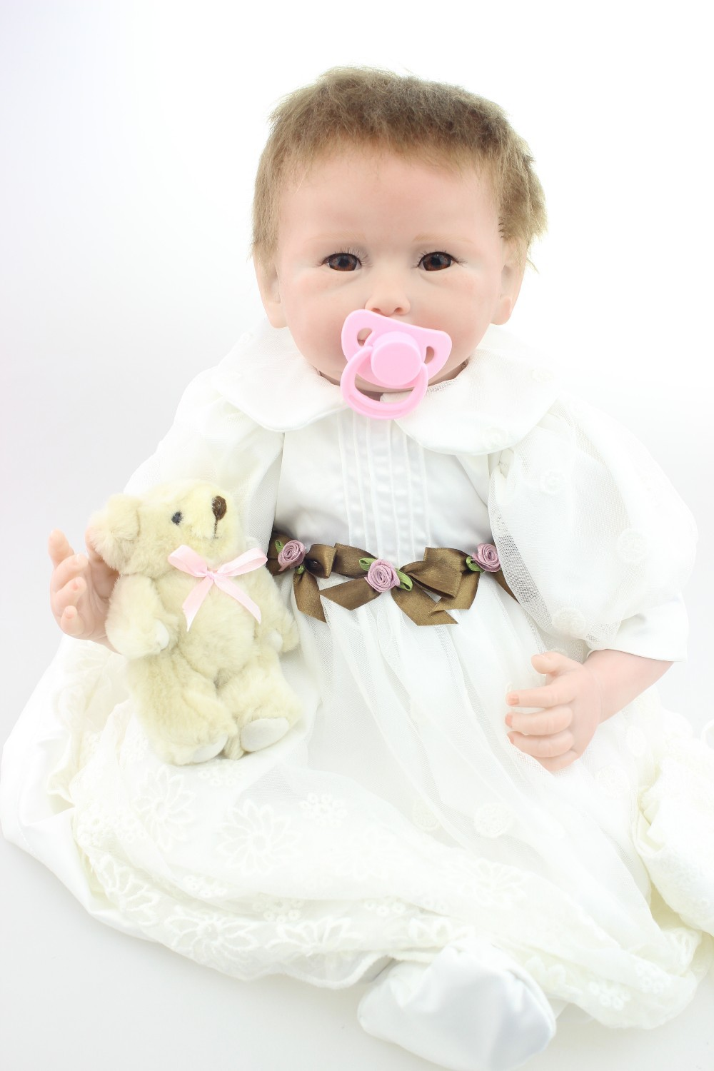 все цены на 22 inch Soft silicone reborn baby dolls toy for girls child birthday gift collectable newborn babies doll play house bedtime toy