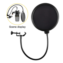 Professional Clamp On Microphone Pop Filter Bilayer Recording Spray Guard Double Mesh Screen for Windscreen Studio
