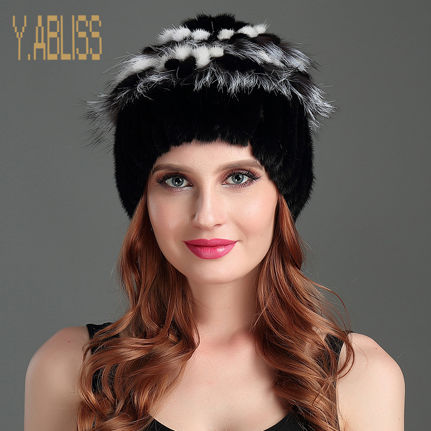 Winter Mink Hats for Women Genuine Mink Fur Knitted Hat with Luxury Flower Top High Quality Winter Warm Women's Knit Cap