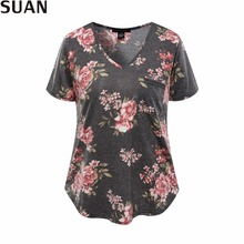 SUAN 2017 Summer Casual T-shirts Top Tees Women Tops Tumblr Blusa Floral Short Sleeve T Shirt Women V-Neck Quality AAAAA Cotton