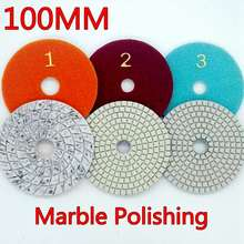 3pcs/lot 4″ 100mm Best 3 step marble polishing pads for granite flexible wet use Diamond Polishing Pads