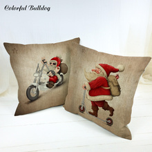 Lovely Santa Claus Merry Christmas Letter Bell Cushion Cover Star Vintage Bicycle Living Room Linen Home Car Decor Beer Pillow