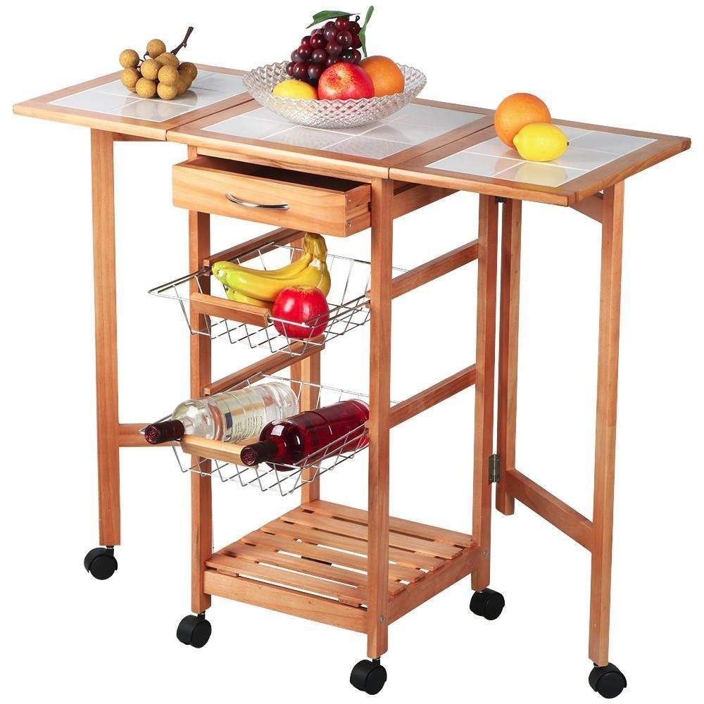 US $55.59  Wood Foldable & Expansible Kitchen Rolling Cart for Food Storage  & Folding Kitchen Island with Trolley Wheels & Drawers & Shelf-in Kitchen  ...