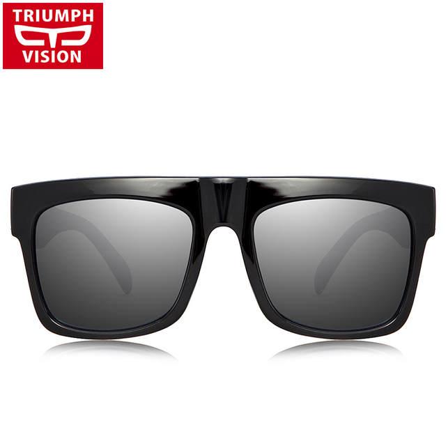 ed0850ef6cca7 placeholder TRIUMPH VISÃO Resistente Preto Flat Top Homens Óculos Oversized  Óculos de sol Grande Quadro Quadrado Verão
