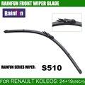 Rainfun dedicado lâmina de limpeza do carro para renault koleos 2 pçs/lote (07-), 24 + 19 POLEGADAS de Borracha Natural limpador de parabrisas