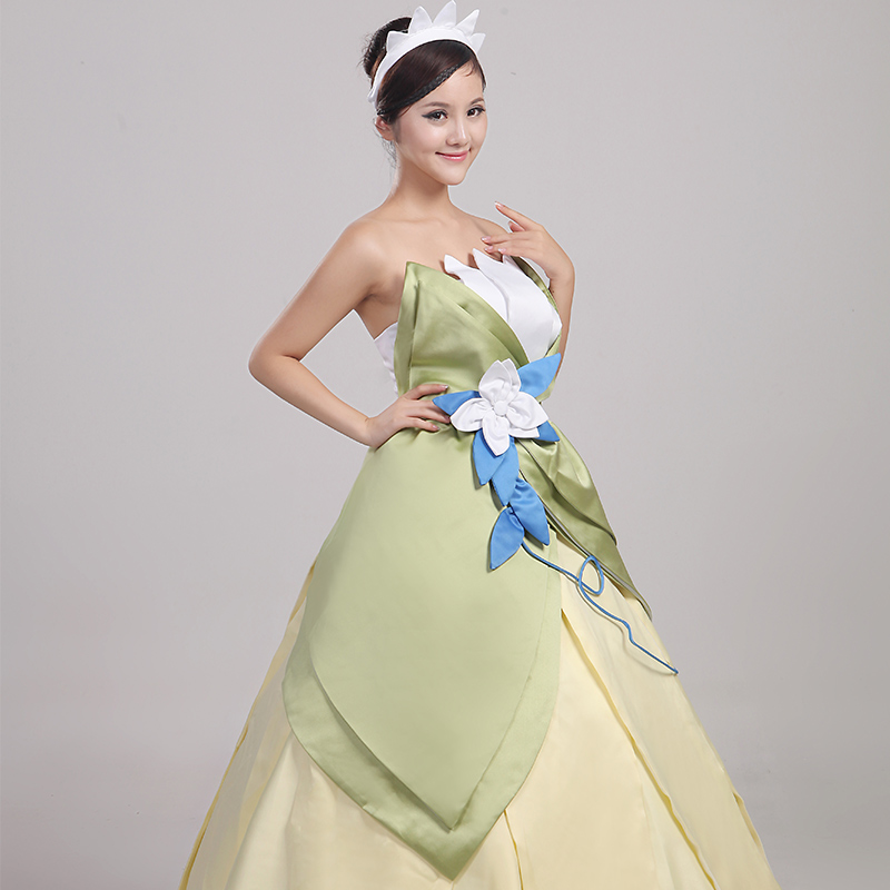 Wonder woman cosplay The Princess and the Frog costume adult princess tiana dress for Halloween costume long green Party dress (8)
