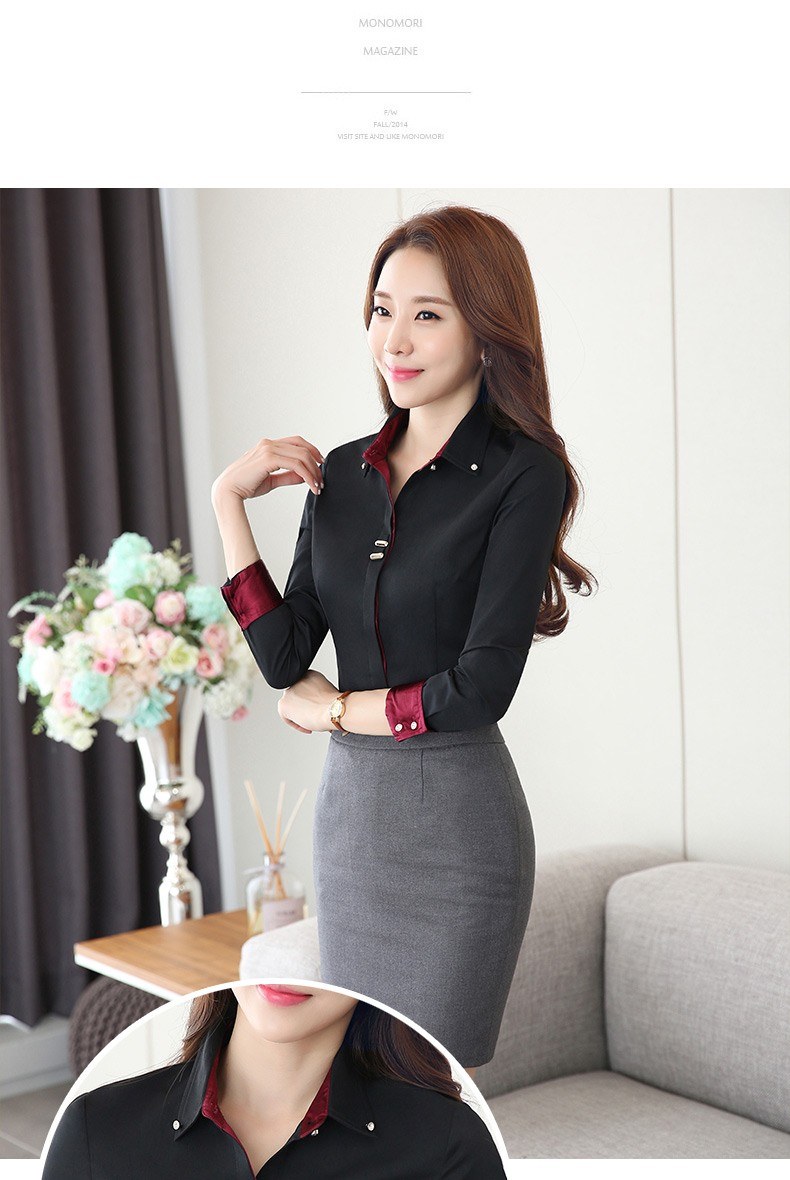 HTB18AwFLXXXXXXzXXXXq6xXFXXX5 - Long sleeve shirt black white slim cotton blouse office ladies