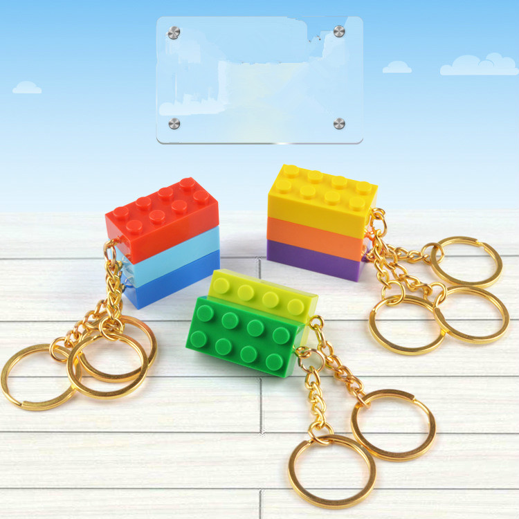 50PCSset Key Chain Blocks Heart Blocks Toy Brick Building Blocks Accessories Keychain Block Model Kits Set DIY Toys for Kids (9)
