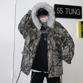 2019 Winter New Japanese And European And American Hip Hop Camouflage  Big Fur Collar Youth Casual Hooded Cotton Suit