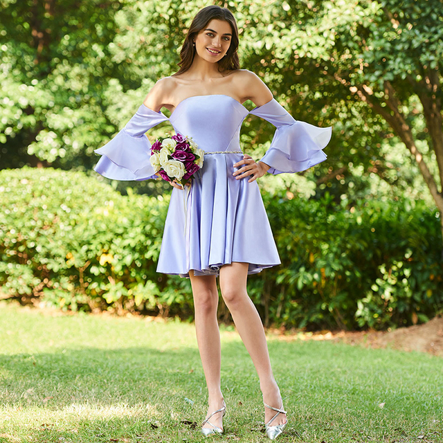 5a226dc9f0 US $91.95 46% OFF|Tanpell strapless bridesmaid dress lavender 3/4 sleeves  mini a line gown lady homecoming wedding party custom bridesmaid dresses-in  ...