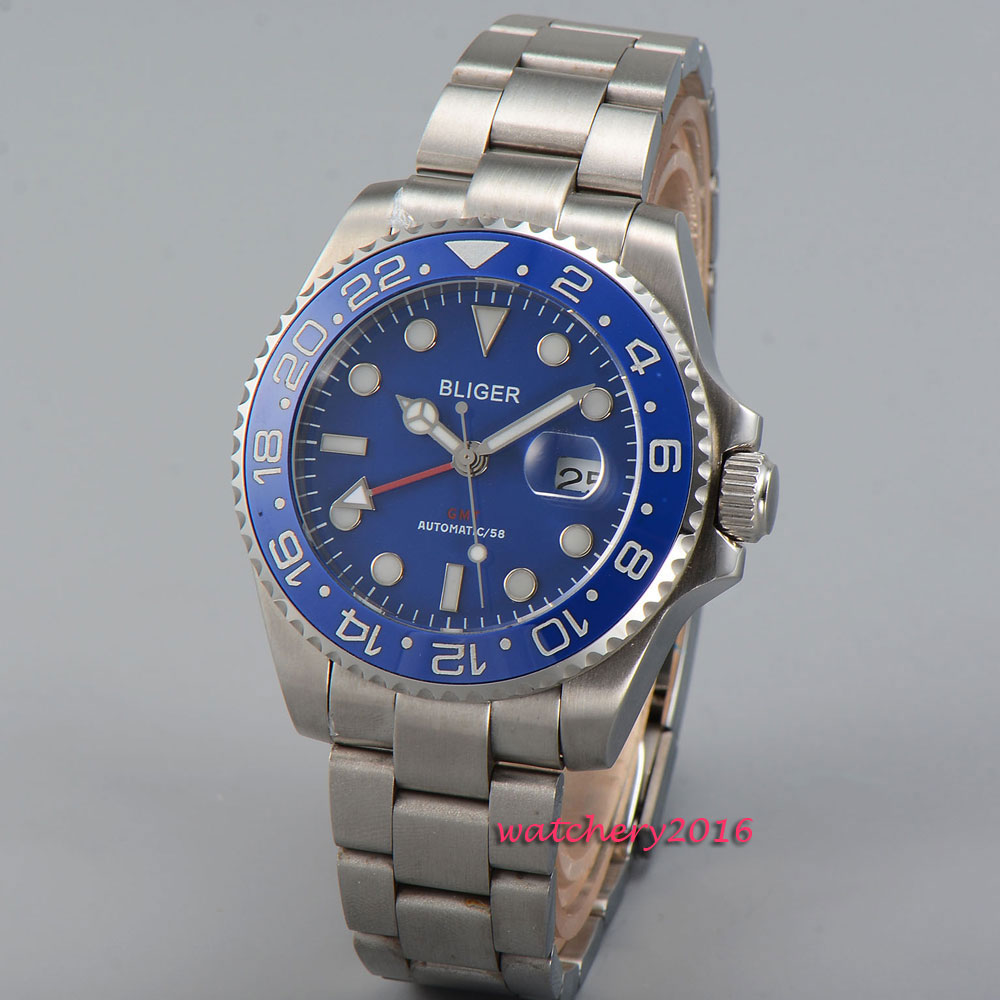 43mm Bliger Blue dial GMT ceramic bezel luminous marks Sapphire Crystal 2018 New Hot Top Brand Automatic Mechanical Men's Watch цена