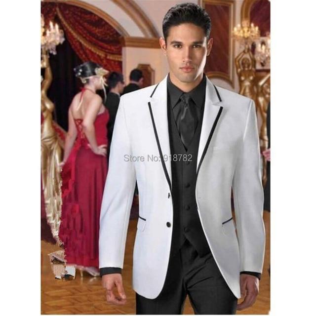2017 Elegant Custom Made Handmade White And Black Fashion Mens Wedding Suits Groom Tuxedos Business Party