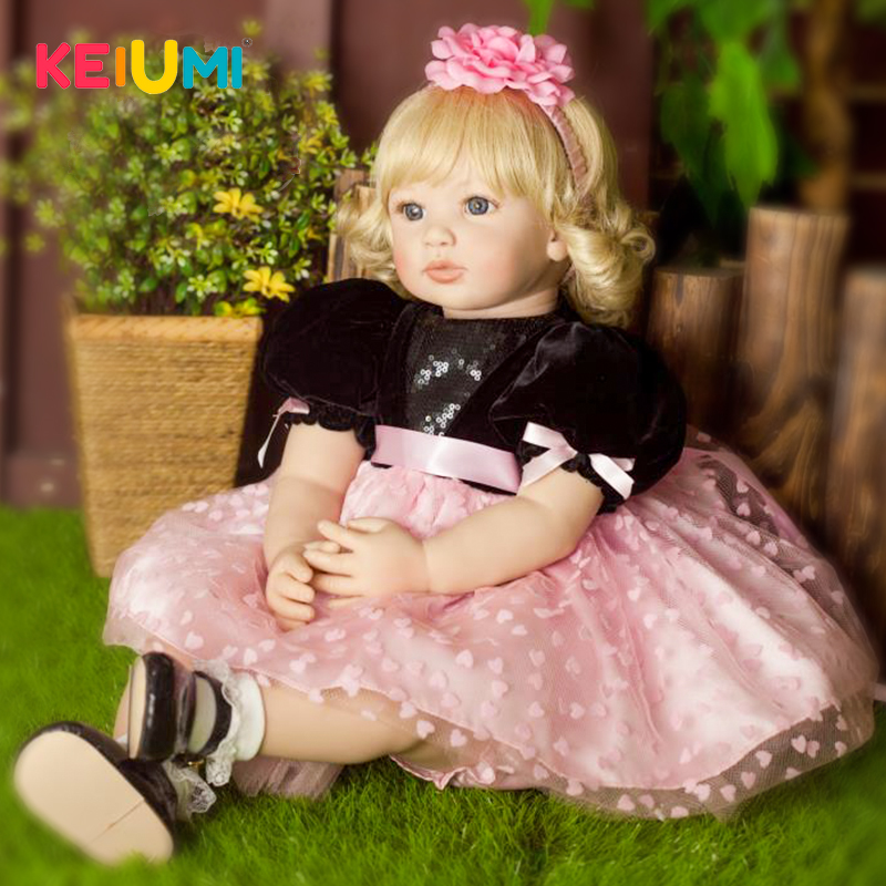 KEIUMI 55 cm Silicone Reborn Babies Doll Lifelike Princess Gold Hair Baby Girl Doll Bebe Reborn Brinquedos Toys For Kids Gifts keiumi realistic silicone reborn babies doll lifelike 22 princess baby girl doll gold hair bebe reborn toys for kids gifts