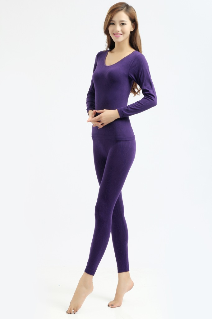 Autumn Winter Women Thermal Underwear Sets Sexy Long Johns Ladies Slim Comfortable Warm Tops+pants Underwear Sets 7 Colors