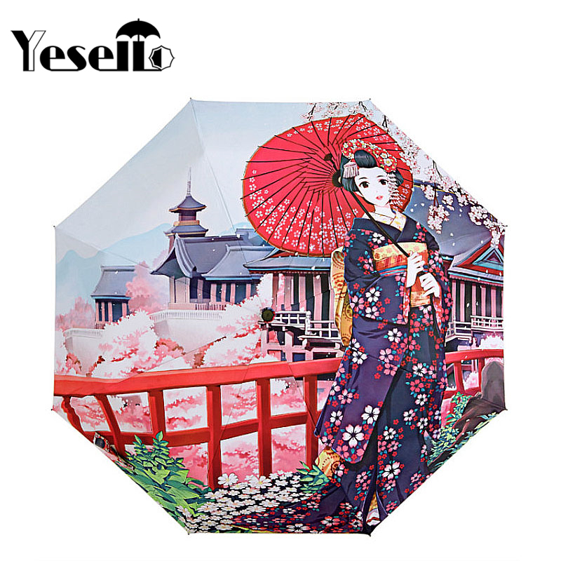 Yesello Japanese Geisha Kimono Girl Three Folding Umbrella 8Rib Wind Resistant Frame For Women Waterproof Pencil Travel Umbrella