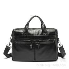 Fashion Brand Men's Handbags Business Shoulder Hand Bags Genuine Leather Laptop Briefcase Totes Crossbody Bags Portfolion Black