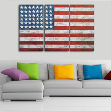 Canvas Paintings Home Decor Modular Living Room 3 Pieces USA Flag Pictures HD Prints Vintage American
