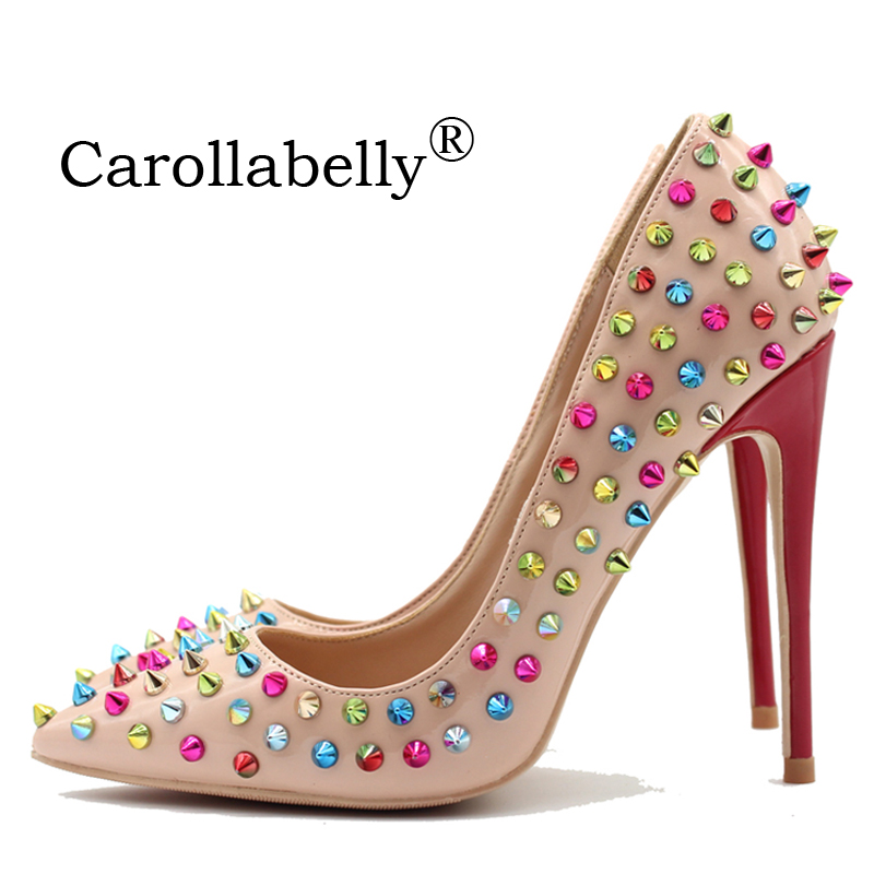 2018 New Patent leather Shoes Women Pointed Toe Thin High Heels Sexy Rivets Spike Pumps Colored Studded Heels Size 34-45 shoesofdream women s 2015 summer peep pointed toe red anke strap patent leahter sexy spike high heels