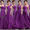 Milan Wholesale Purple One Shoulder Chiffon Bridesmaid Dresses With Sleeves Long Section China Wedding Dresses Plus