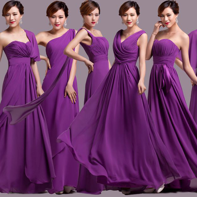 Robe Demoie D Honneur 2018 Chiffon A Line 5 Style Purple Bridesmaid Dresses Long Plus