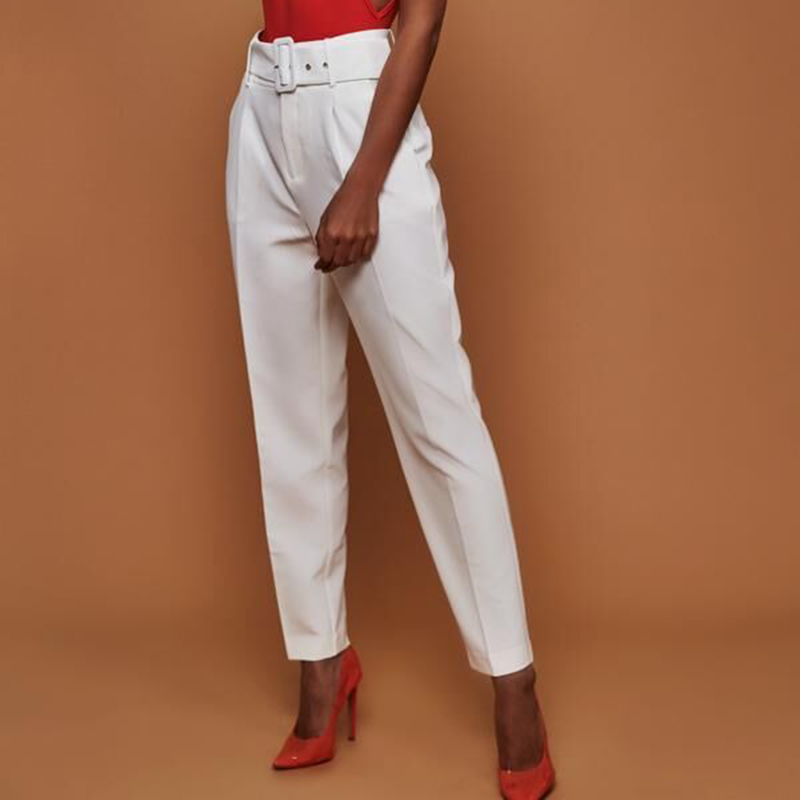 OL high waist harem pants with belt Women summer casual pants Elegant office ladies workwear pants female 2018 New trousers
