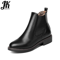 J K Slip On Elastic Band Rubber Boots Winter 2017 New Arrival Ankle Chelsea Boots Women