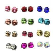 LET IT BE Trendy Silver Glass Crystal Stud Earrings 2017 Women's Fashion Jewelry Small AB Blue Dot Earrings for Women 15*15 MM