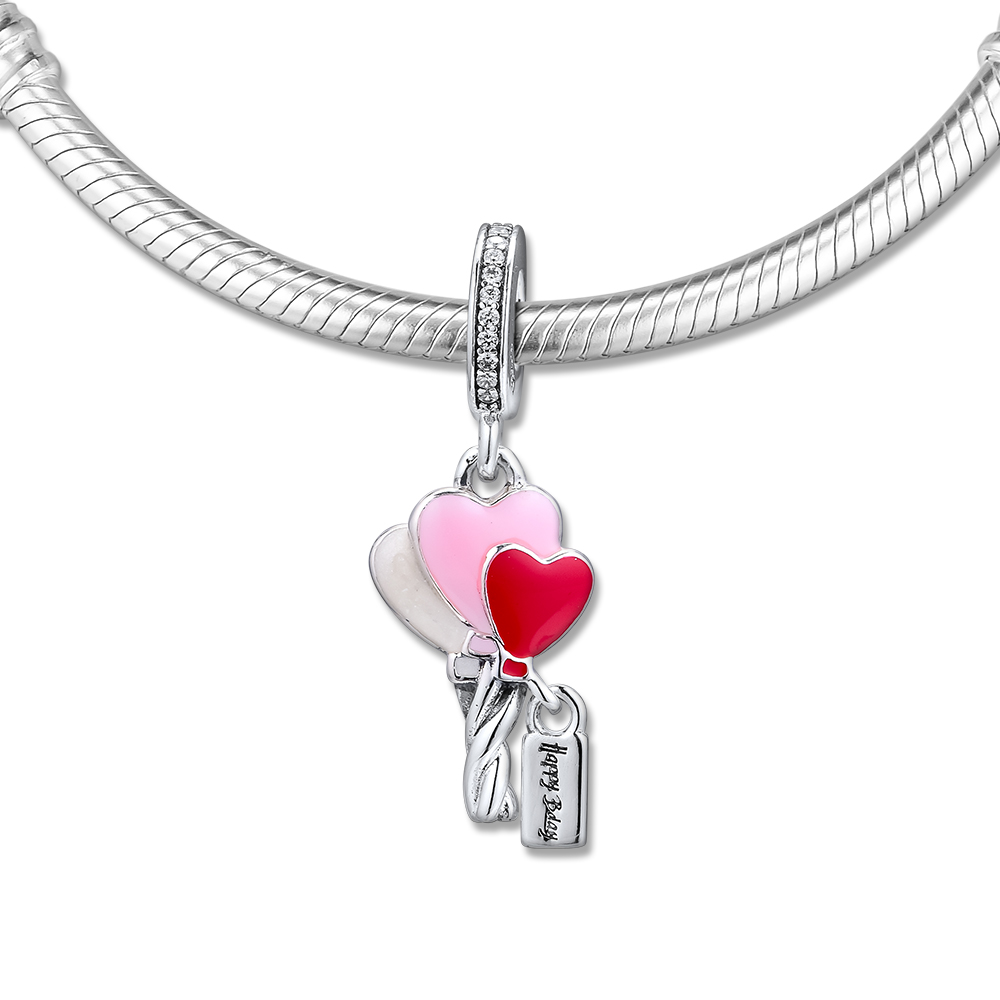 Fits for Pandora Charms Bracelets Heart Balloons Dangle Beads 100% 925 Sterling-Silver-Jewelry Free ShippingFits for Pandora Charms Bracelets Heart Balloons Dangle Beads 100% 925 Sterling-Silver-Jewelry Free Shipping
