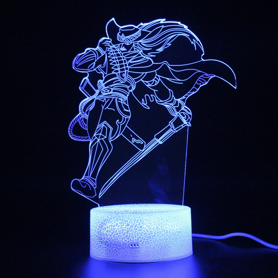League Legend Yasuo figure Lamp Remote Control Led Light Party Decoration 3d Table Kids Sleep Night Projection