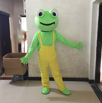 New Frog Mascot Costume With Yellow Overalls Factory Direct Sale Cartoon Mascot Costume Adult Size Fancy Dress for Women Men