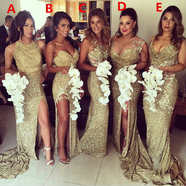 Gold 2019 Cheap Bridesmaid Dresses Under 50 Mermaid Halter Sequins Sparkle Slit Sexy Long Wedding Party