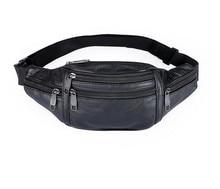HUANILAI Genuine Leather Belt Bags For Men Waist Packs Travel Chest Crossbody  Mobile Phone SH02