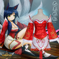 Free Shipping LOL Ahri Cosplay Costumes The Nine Tailed Fox Red Dress Women Adults Tops Skirts