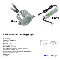 LED Handrail Light 6pcs Set With Driver Waterproof Light 3 Years Warranty IP67 Led Recessed Light