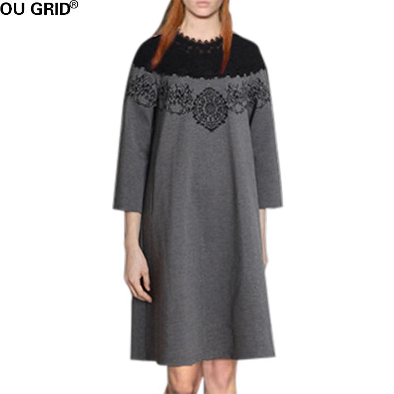 Черное кружево вязаный свитер платье 2016 женщин Осень Зима взлетно-посадочной полосы серый вышивка-линии свободного покроя платья плюс Размер L-формы 5xl