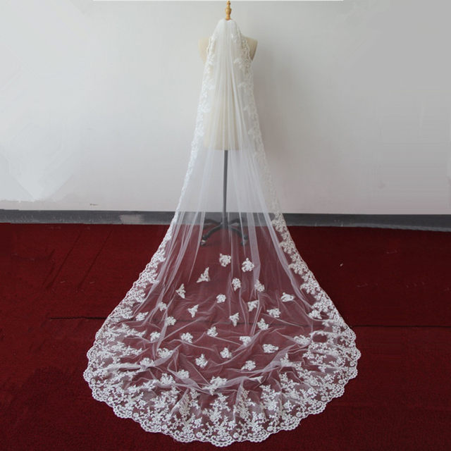 Veu De Noiva Longo  Meters Appliques Lace Edge Bridal Veil White Ivory Wedding Accessories Cathedral Wedding Veil Voile Maria
