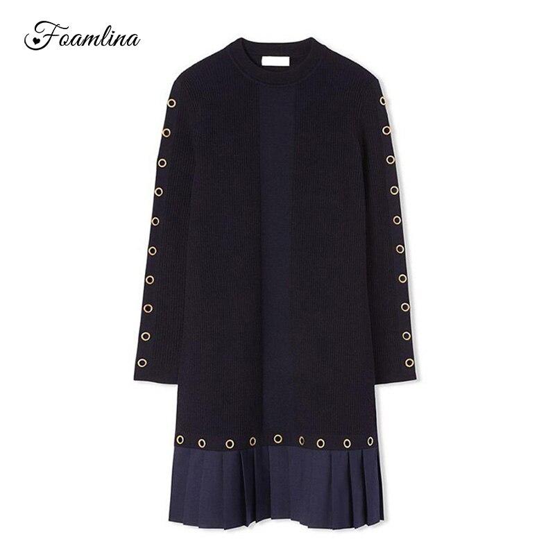Foamlina Knitting Dress Women New Autumn Winter Long Sleeve Ring Buckles Hollow Casual Sweater Pleated Patch Short Dresses