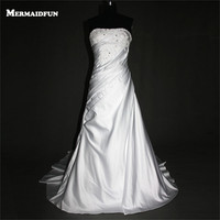 2017 Real Photos Mermaid Beaded Lace Satin Lace Up Back Custom Made Wedding Dresses New Arrival