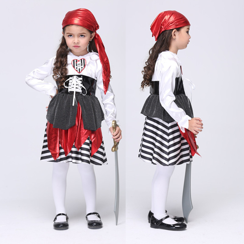 Masquerade Carnival Girl's Children Pirate Costumes Halloween Fantasia Kids Cosplay Performance Party Dress