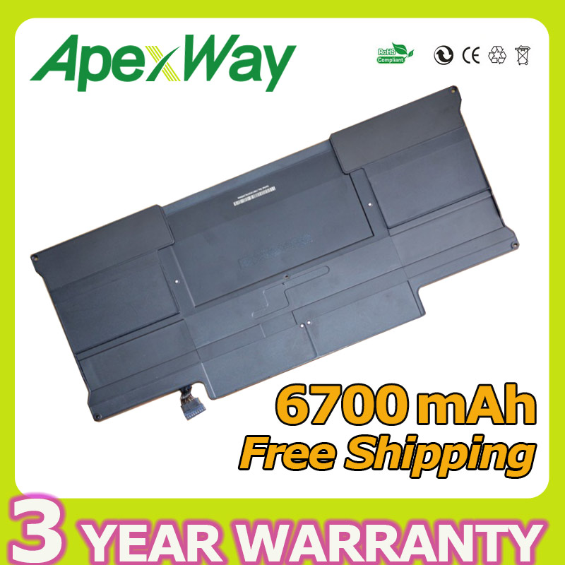 Apexway 50wh 7.3v a1369 battery for apple Macbook Air 13 A1377 A1405 MC504 MD231 MD232 MC965 MC966 hsw rechargeable battery for apple for macbook air core i5 1 6 13 a1369 mid 2011 a1405 a1466 2012