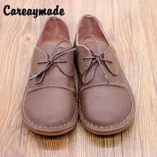 Careaymade-Hot Spring and Autumn new round head leisure shoes, pure handmade Genuine leather flat bottomed womens single shoes