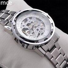 MCE Automático Relojes de Marca de Lujo Hombres de Acero Inoxidable Auto Viento Esqueleto Reloj Mecánico de Pulsera de Moda Casual relojes para hombres